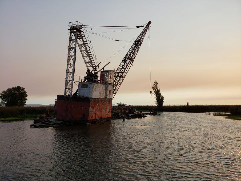 Abandoned crane at Sevenmile Slough